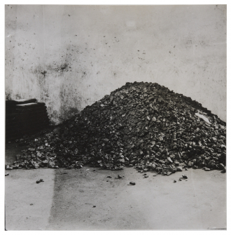 Black-and-white photograph of a coal cellar