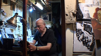 Boris Lurie in his studio