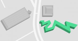 Gebäudeplan mit Markierung des Libeskindbaus
