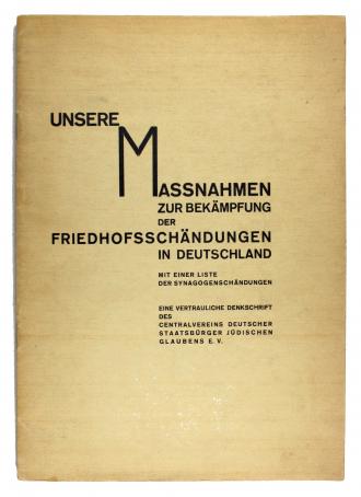 Vorderseite des Heftes »Unsere Maßnahmen zur Bekämpfung der Friedhofsschändungen in Deutschland«