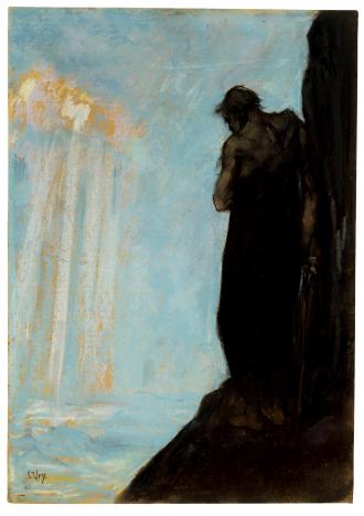 Gemälde: Lesser Ury, Moses sieht das Gelobte Land vor seinem Tode