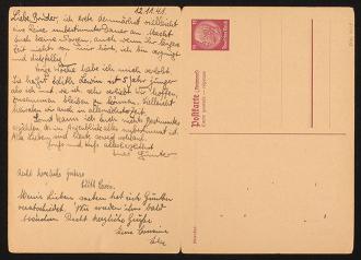 Aufklappbare Postkarte mti handschriftlichem TExt
