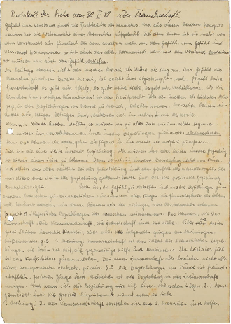 Somewhat yellowed sheet of paper covered in crowded handwriting