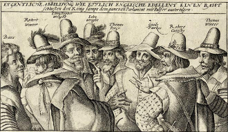 """Copper engraving of eight English noblemen with hats discussing with each other with the title """"""""Actual illustration how several English noblemen decide to destroy the king together with the whole parliament with powder."""""""
