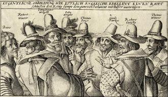"""Kupferstich von acht Männern mit Hut, die miteinander diskutieren, darüber steht """"Eygentliche Abbildung wie ettlich Englische Edelleut einen Raht schliessen den König sampt dem gantzen Parlament mit Pulfer zuvertilgen"""""""