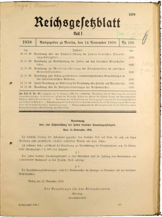 Seite aus dem Reichsgesetzblatt Teil 1 1938