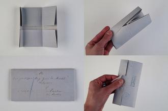 Brief-Rekonstruktion in vier verschiedenen Stufen der Faltung