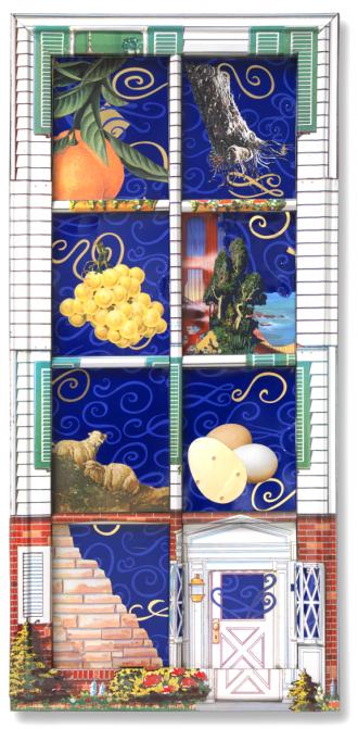 Rechteckiger Seder-Teller mit acht Vertiefungen