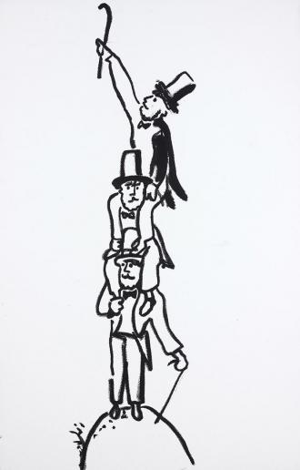 Zeichnung dreier Männer, die einander auf die Schulter nehmen und mit einem Spazierstock im Himmel anklopfen