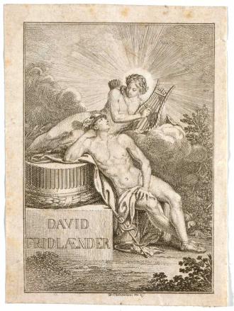 """Radierung von Merkur, der an einem Säulenstumpf mit der Beschriftung """"David / Fridlaender"""" lehnt. Über ihm auf einer Wolke sitzt Apoll mit Köcher, Leier und Lorbeerkranz."""