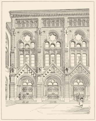 Fassade der Synagoge mit spitzen Torbögen, hohen Fenstern und flachem Dach.