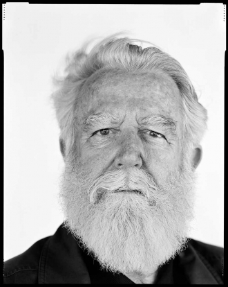 Black-and-white portrait photo of James Turrell