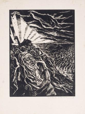 Holzschnitt: Jakob Steinhardt, Zug durch's Rote Meer