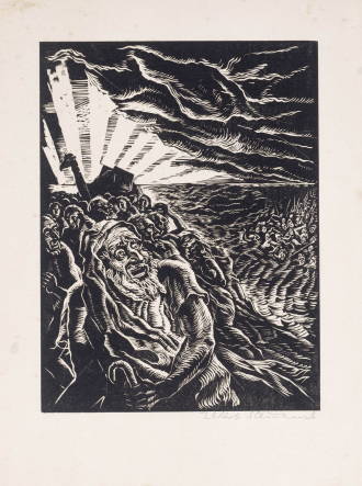 Woodcut: Jakob Steinhardt, <cite>Passage through the Red Sea</cite>