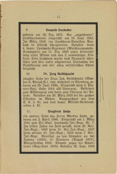 Seite mit drei Kurzbiografien, gedruckt, mit schwarzem Rahmen