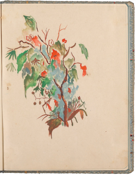 Color drawing of branches and twigs with autumnal foliage