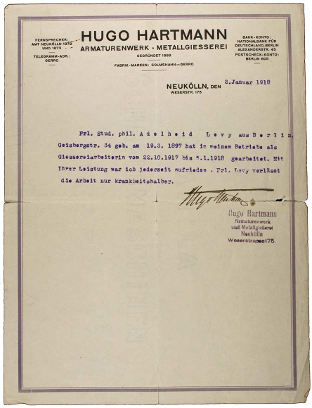 """A typewritten reference with letterhead and handwritten signature of Hugo Hartmann, he was """"satisfied at all times. Miss Levy leaves work only because of illness."""""""