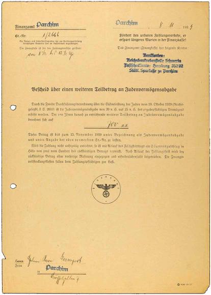 Vordruck, handschriftlich ausgefüllt, mit Stempel des Finanzamtes Parchim