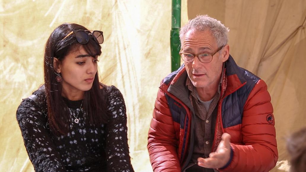 Yara Jarrar (left) talking with director Dani Levy
