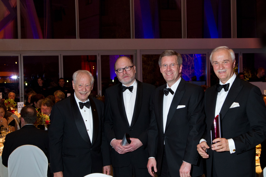 Jubiläumsdinner 2010: W. Michael Blumenthal, Jan Philipp Reemtsma, Christian Wulff und Hubertus Erlen