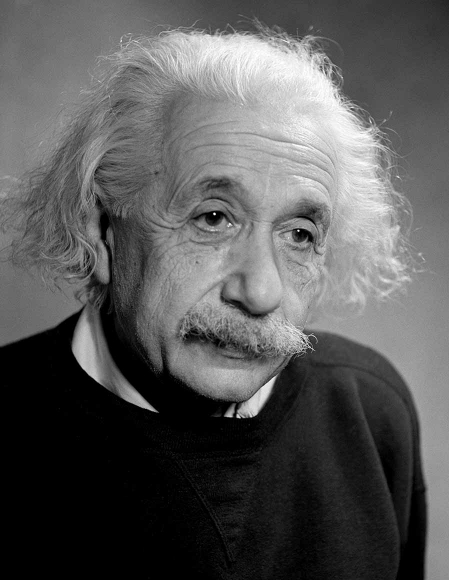 Black and white portrait of Albert Einstein