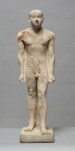 historical small gray sculpture of a standing naked man