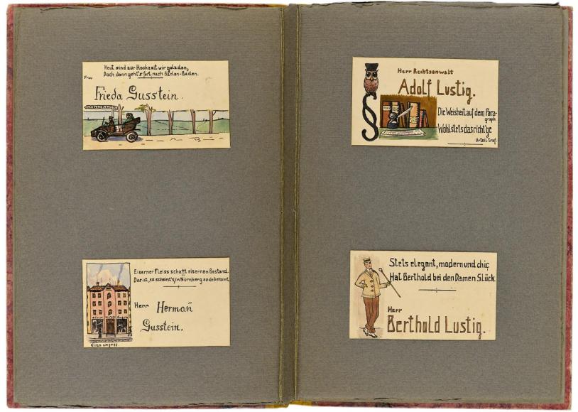 Doppelseite mit vier Tischkarten von Frieda Gusstein, Hermann Gusstein, Adolf Lustig und Berthold Lustig.