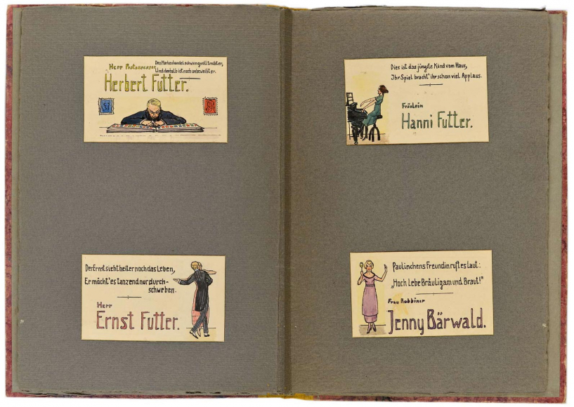 Two-page spread with the place cards for Herbert Futter, Ernst Futter, Hanni Futter, and Jenny Baerwald