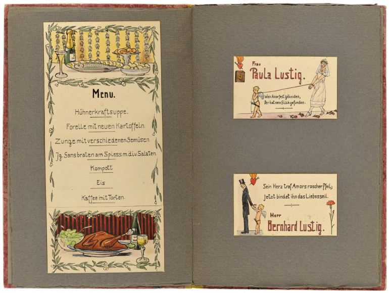 Two-page spread with the menu and Paula and Bernhard Lustig's place cards