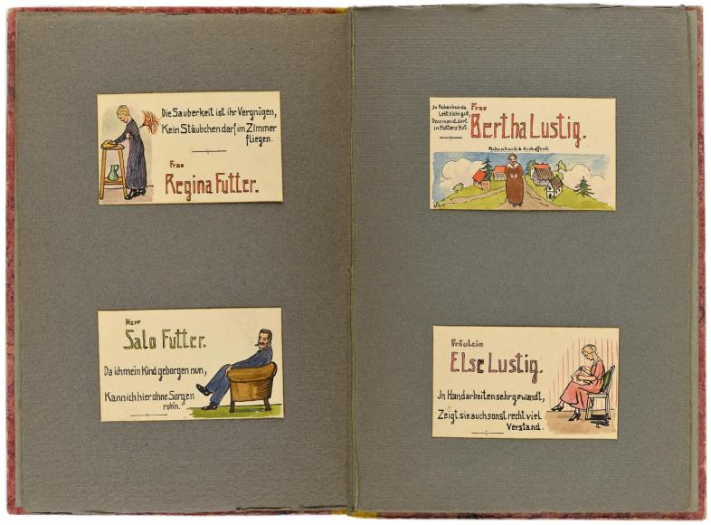 Doppelseite mit vier Tischkarten von Regina Futter, Salo Futter, Bertha Lustig, Else Lustig.