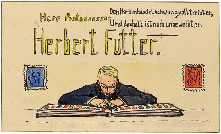 Tischkarte von Herbert Futter. Über einem aufgeklappten Briefmarkenalbum sitzend ist Herbert Futter dargestellt. Darüber steht der Text »Den Markenhandel schwungvoll treibt er, Und deshalb unbeweibt noch ist er.«