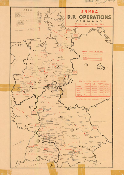 German map with the locations of DP Operations in 1946. Red and black dots cover the map