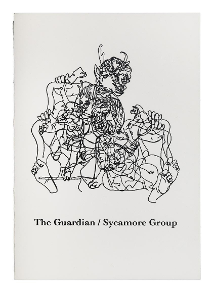 Black abstract line drawing of a figure with multiple limbs, faces, and animal features