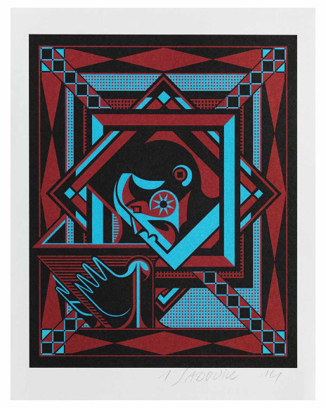 Red, blue, and black abstract geometric print of a profile of a man's face and his right hand