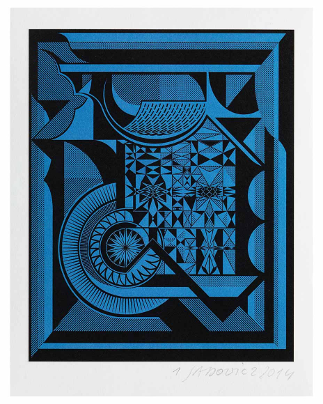 Geometric black and blue geometric print with multiple different patterns and shapes