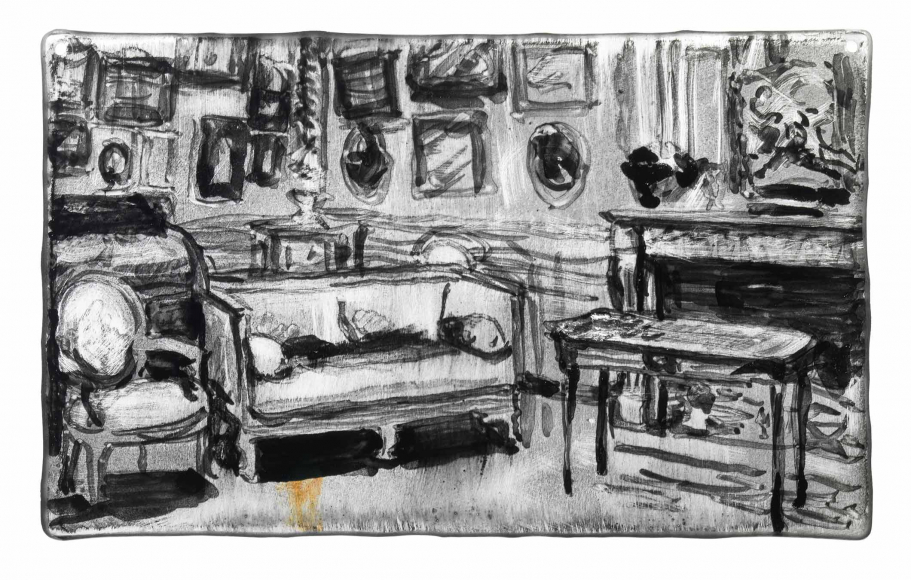 Inky black and white watercolor of a still life of a living room complete with fireplace, couch, and various picture frames