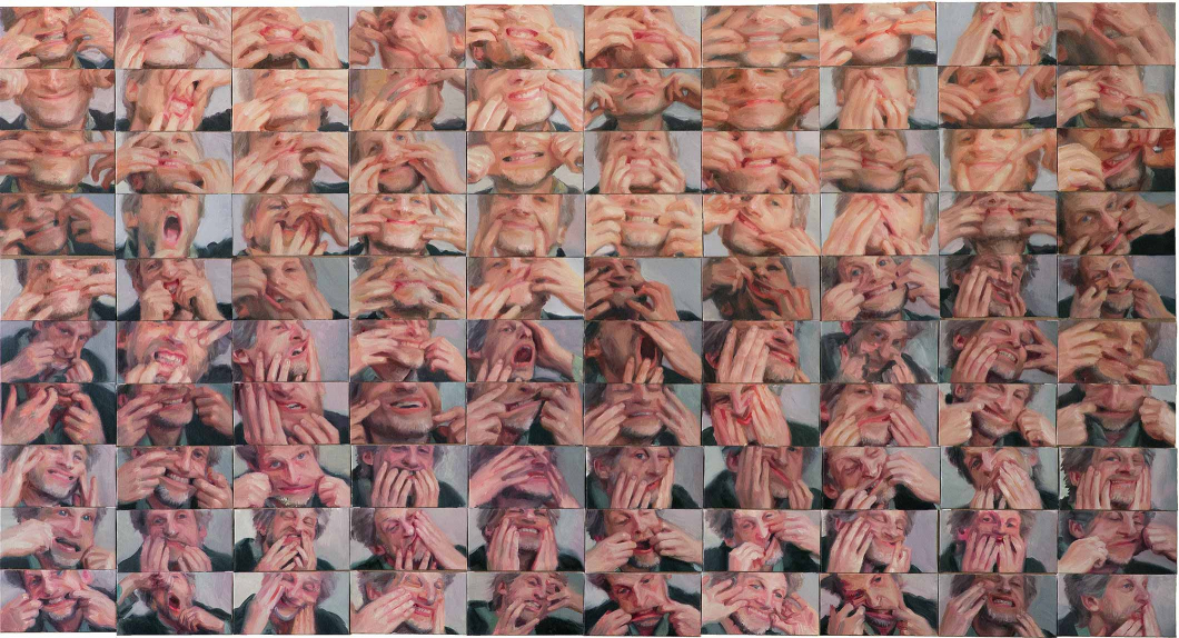 Multiple panels of photographic close ups of a man using his hands in several different poses to stretch out the skin of his face