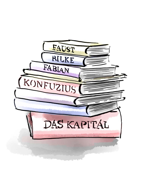 "Drawing: pile of books with titles on the spines (""Capital"", ""Confucius"", ""Fabian"", ""Rilke"", ""Faust"")"