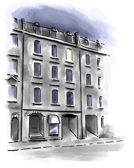 Drawing: four-storied house seen from the street in the dark, one illuminated window in the 4th floor