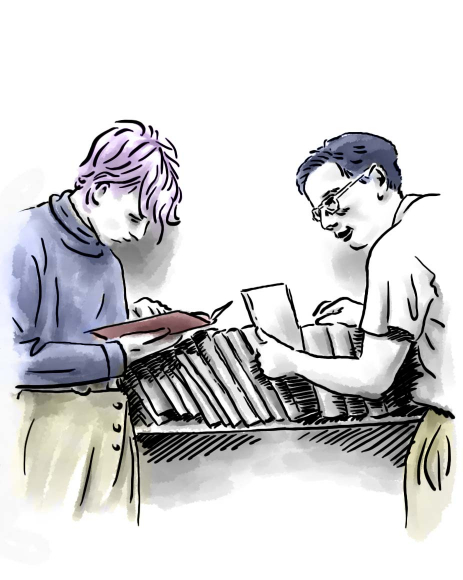Drawing: two male youths standing in front of a book shelf; the guy on the left leafs through a book