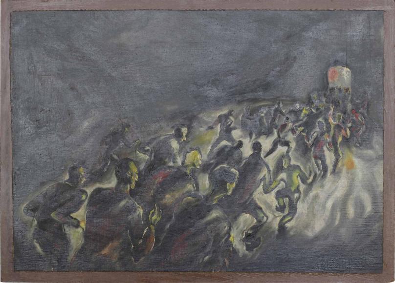 Düsteres Gemälde, auf dem viele Menschen von hinten zu sehen auf eine kleine Tür zustreben