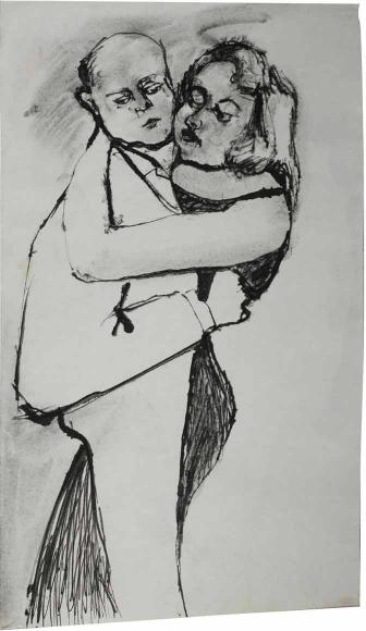Zeichnung eines engumschlungenen Tanzpaares