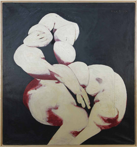 Abstract painting of a human-like figure composed of puffy white objects