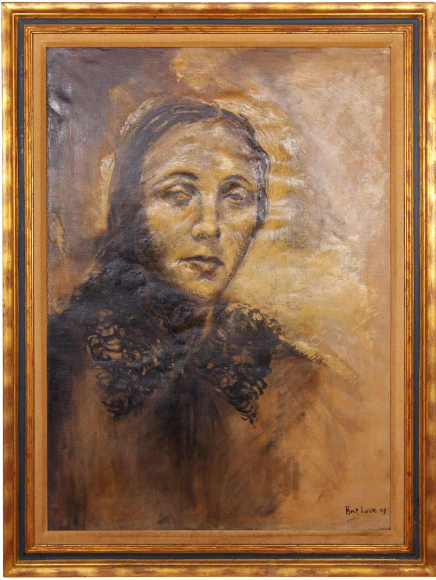 Painted portrait of Boris Lurie's mother wearing a headscarf, she is expressionless and looks off into the distance