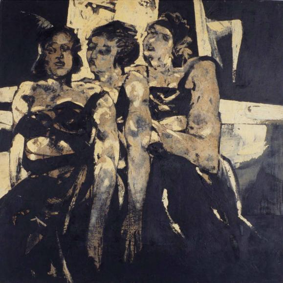 Das Gemälde zeigt drei Frauen in freizügigen schwarzen Kleidern