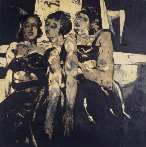 Expressionistic painting of three women standing behind each other, their faces are expressionless