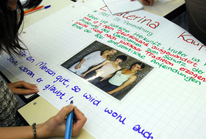 A student's worksheet on Ekaterina Kaufmann