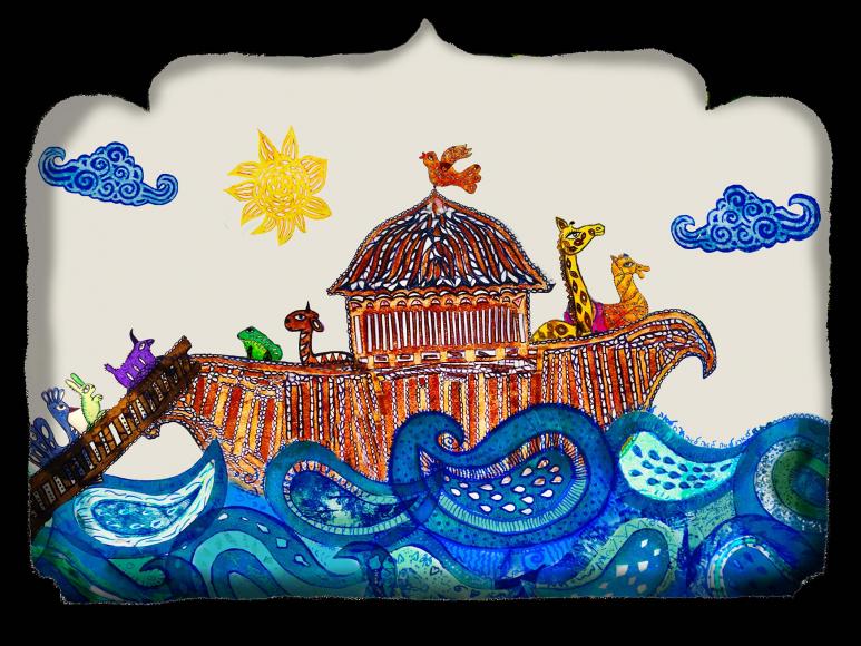 Ausschnitt aus dem Schattentheater Ansicht Arche Noah