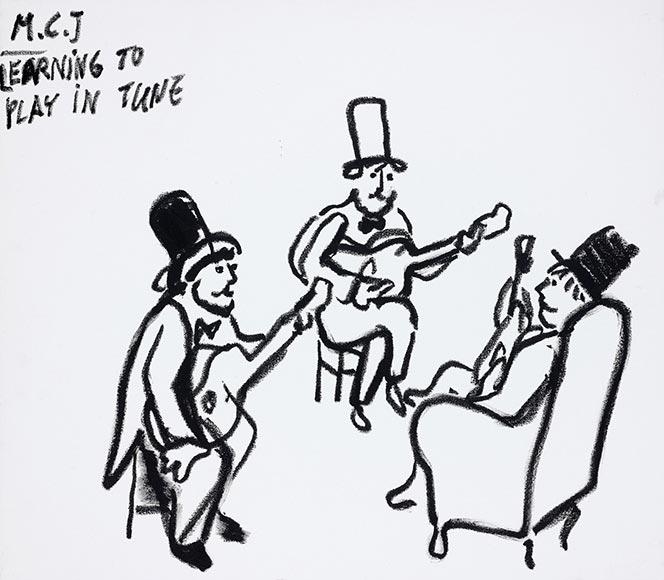 Zeichnung von drei Männern mit Gitarre