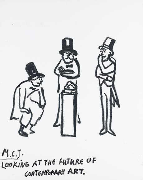 Drawing of three men looking at an objekt on a pillar